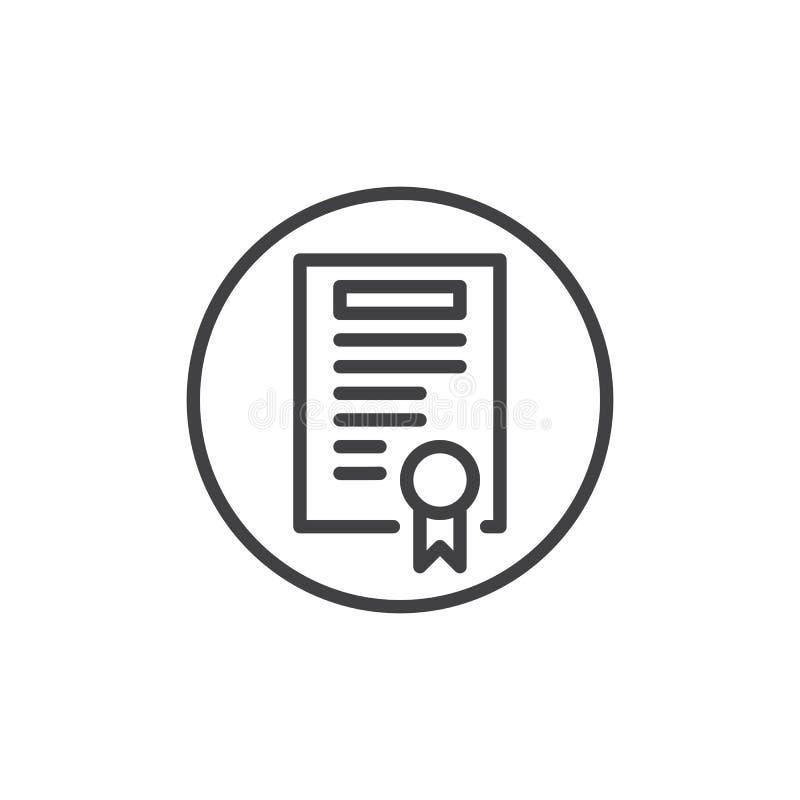 Certificado con la línea icono de la insignia stock de ilustración