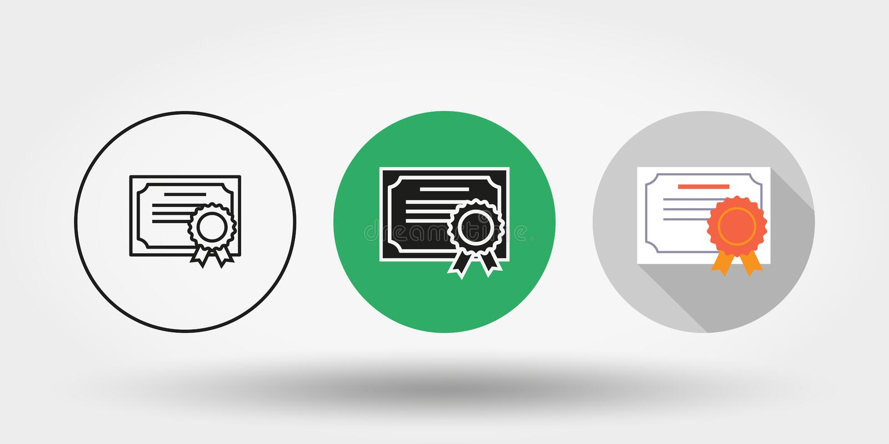 certificado conjunto icono Silueta Línea fina Editable plano Vector libre illustration
