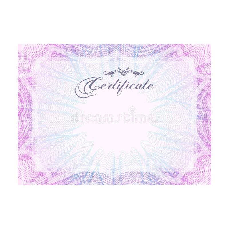 Certificado cor-de-rosa oficial do Guilloche com o quadro, horizontal ilustração royalty free