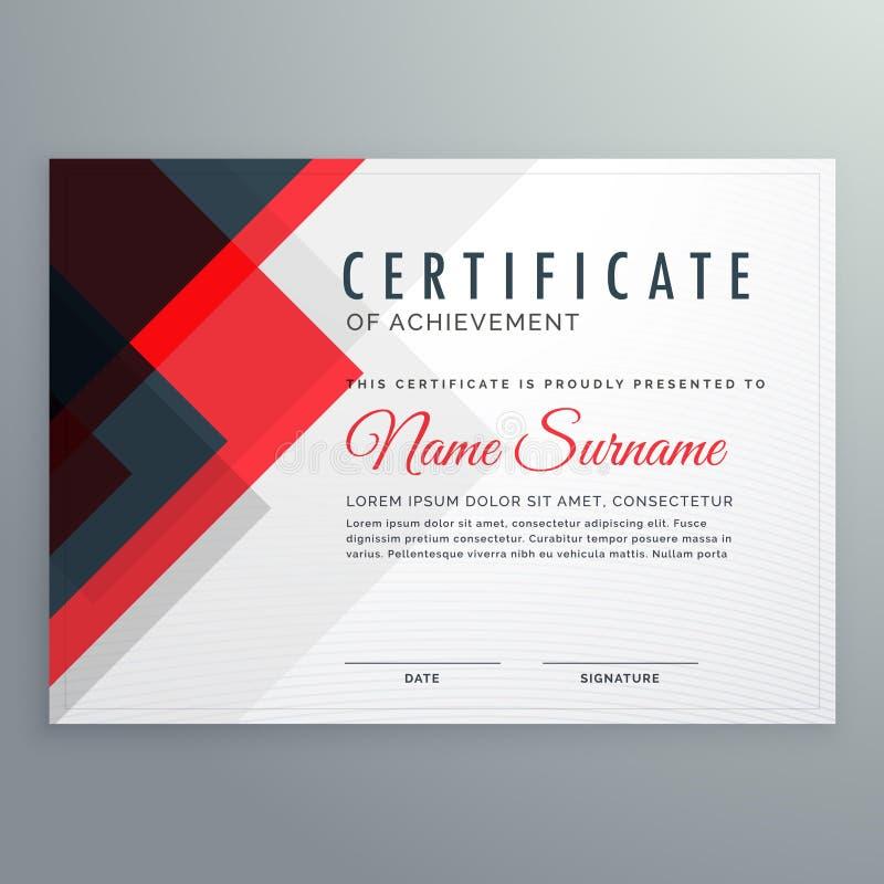 certificado creativo de plantilla del premio al éxito con rojo y stock de ilustración