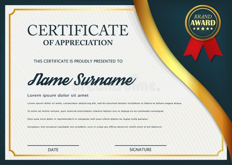 Certificado criativo do molde da concessão da apreciação Projeto do molde do certificado com melhor símbolo da concessão e formas ilustração royalty free