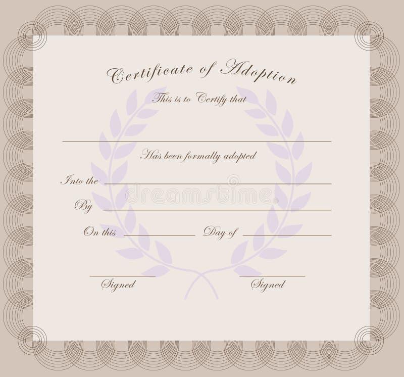Certificado da adoção ilustração do vetor