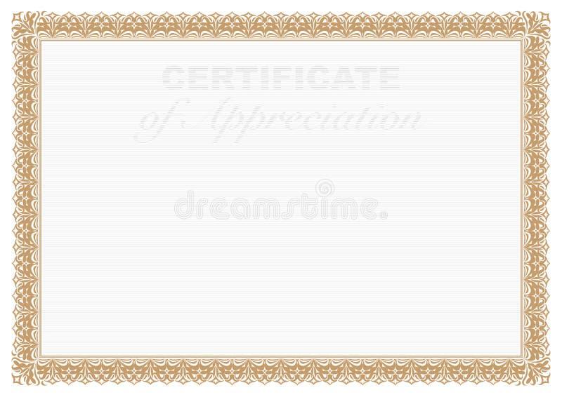 Certificado da beira do ouro da apreciação com impressão da segurança ilustração do vetor
