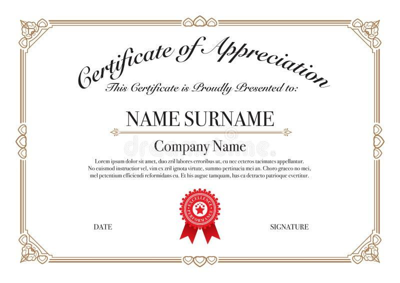 Certificado da beira do ouro da apreciação para o desempenho da excelência ilustração royalty free