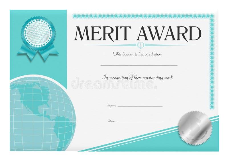 Certificado da concessão de mérito ilustração do vetor