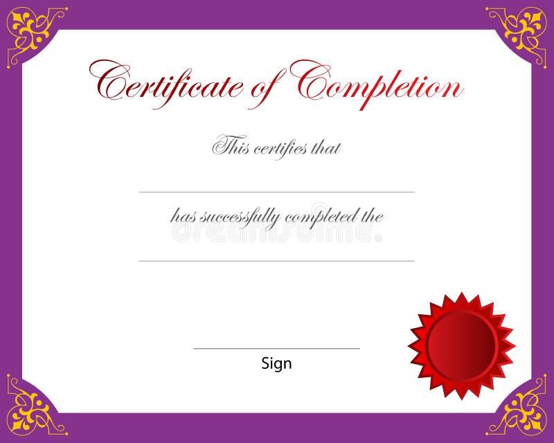 Certificado da conclusão ilustração do vetor