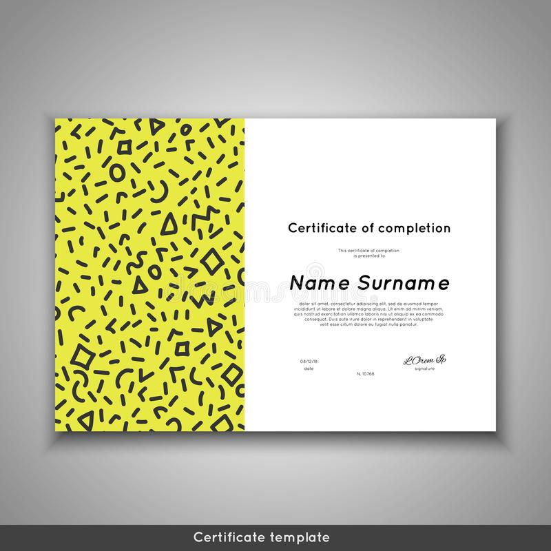Certificado da conclusão - apreciação, realização, graduação, diploma ou concessão ilustração stock