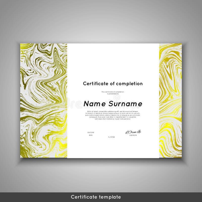 Certificado da conclusão - apreciação, realização, graduação, diploma ou concessão com fundo de mármore da textura ilustração stock