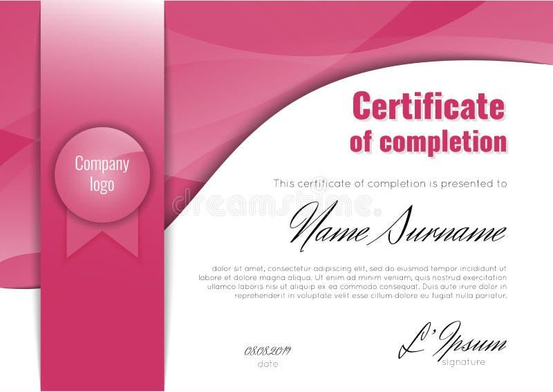 Certificado da conclusão - apreciação, realização, graduação, diploma ou concessão com fundo de mármore da textura ilustração do vetor