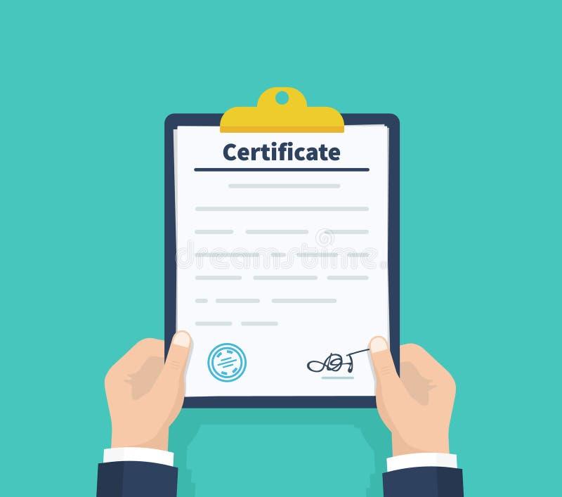 Certificado da posse do homem Lista de verificação que guarda a prancheta Documento, folhas no dobrador Ilustração do vetor ilustração royalty free