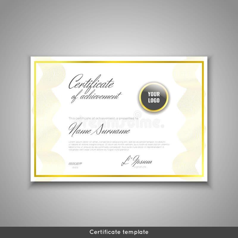 Certificado da realização - apreciação, conclusão, graduação, diploma ou concessão com fundo das ondas do ouro molde ilustração do vetor