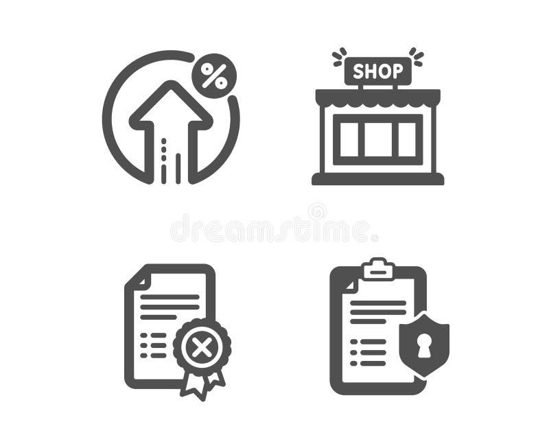 Certificado da rejeição, por cento do empréstimo e ícones da loja Sinal da política de privacidade Arquivo da diminuição, taxa de ilustração royalty free