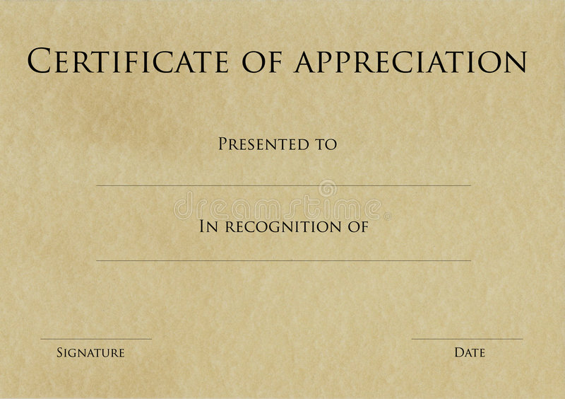 Certificado de aprecio imagenes de archivo
