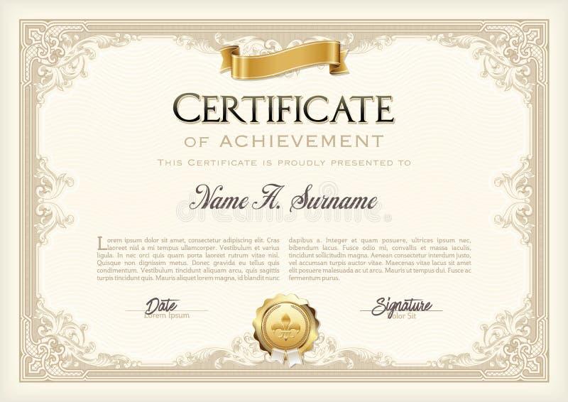 Certificado de bastidor del vintage del logro con la cinta del oro Paisaje stock de ilustración
