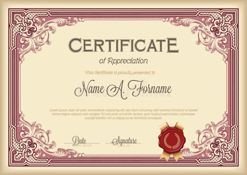 Certificado de bastidor floral del vintage del aprecio ilustración del vector