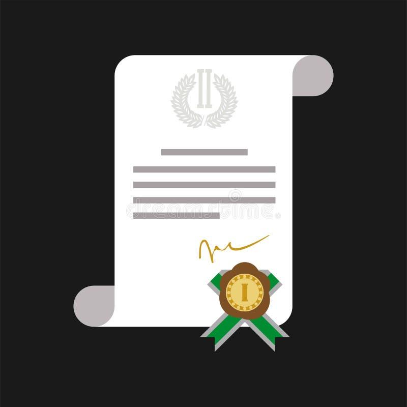 Certificado de honor con la bandera del web de la medalla de oro aislada libre illustration