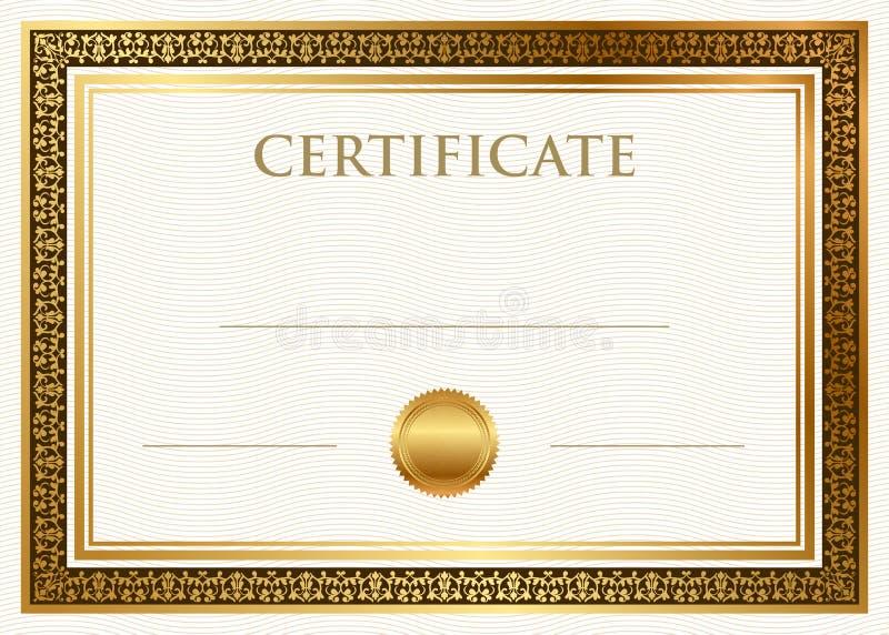 Certificado de logro con el sello de la cera ilustración del vector