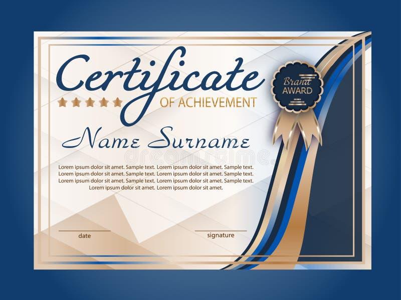 Certificado de logro, plantilla horizontal del diploma Fondo decorativo azul de los elementos Ganar la competencia concesi?n ilustración del vector
