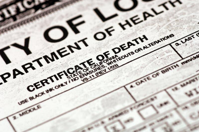 Certificado de muerte fotos de archivo libres de regalías