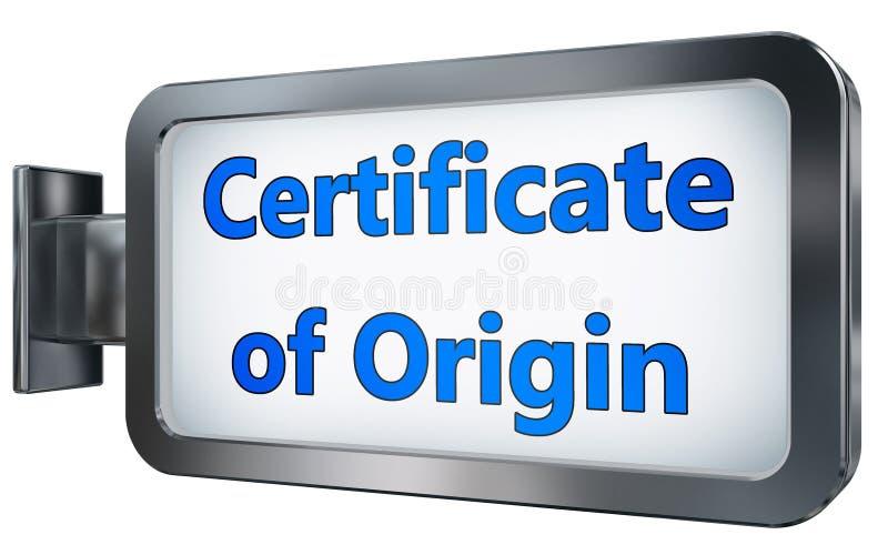 Certificado de origen en la cartelera stock de ilustración