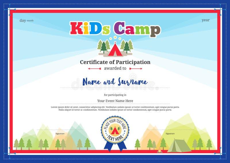 Certificado de participação colorido e moderno para atividades das crianças ilustração stock