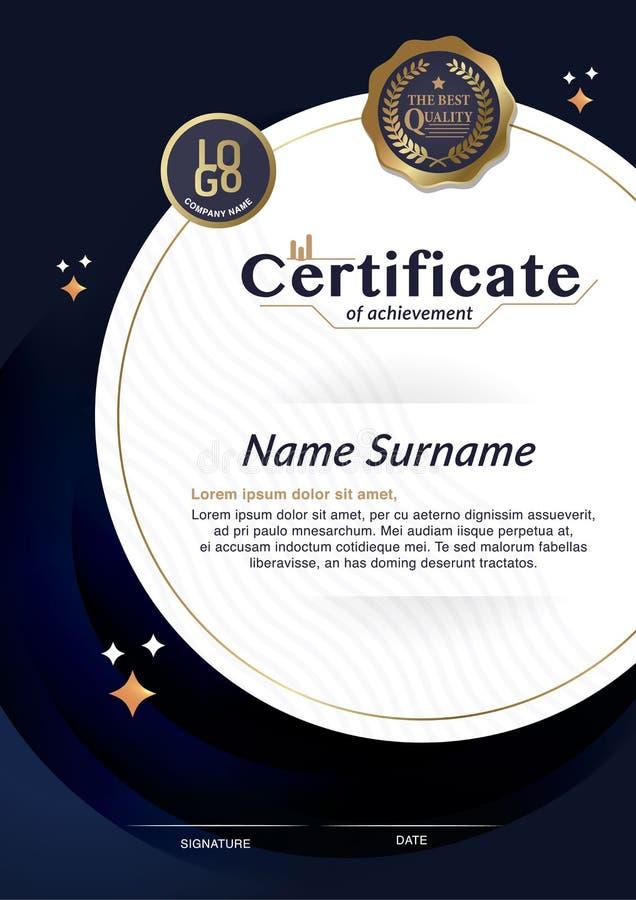 Certificado de plantilla de la disposición de la plantilla del diseño del marco del logro de tamaño A4 stock de ilustración
