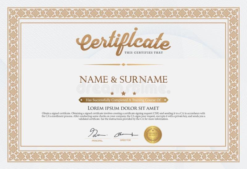 Certificado de plantilla de la realización libre illustration