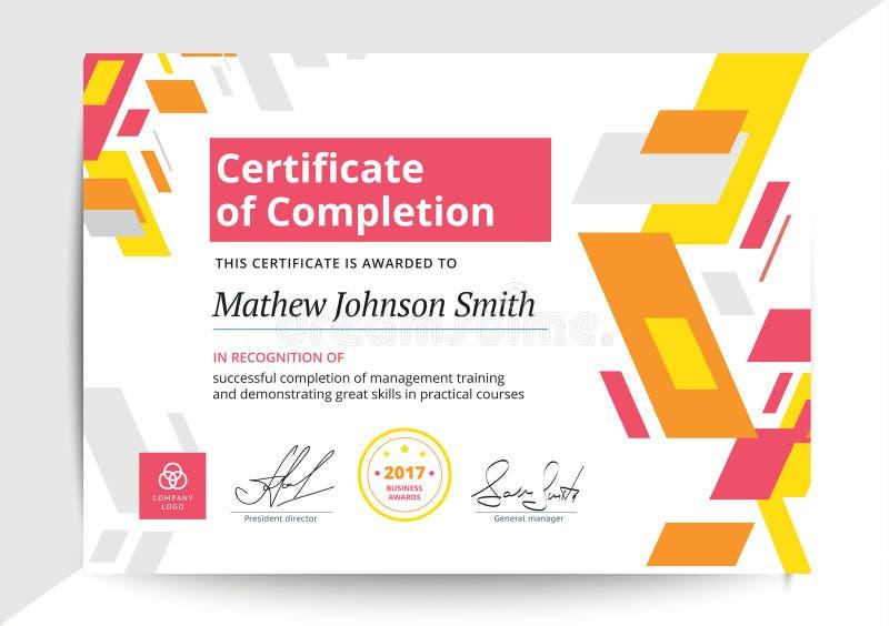 Certificado de plantilla de la realización en diseño moderno Di del negocio stock de ilustración