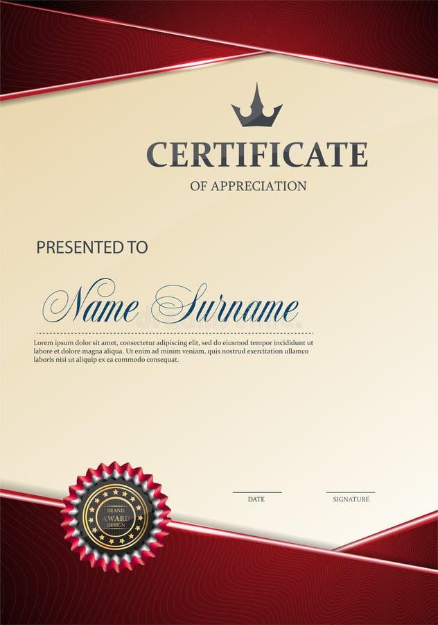 Certificado de plantilla del aprecio libre illustration