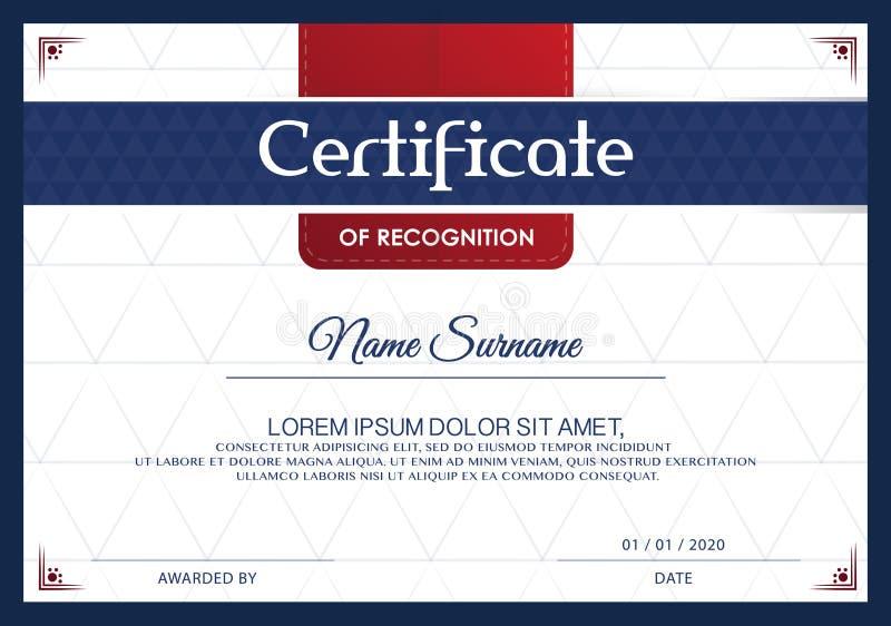 Certificado De Plantilla Del Diseño Del Marco Del Logro, Azul-blanco ...