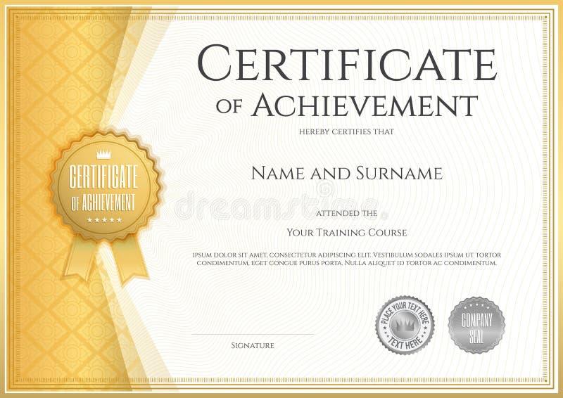 Certificado de plantilla del logro en vector ilustración del vector
