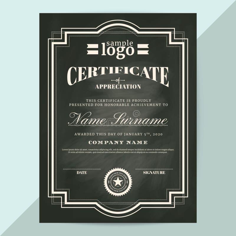 Certificado de plantilla del marco del aprecio en estilo de la pizarra stock de ilustración