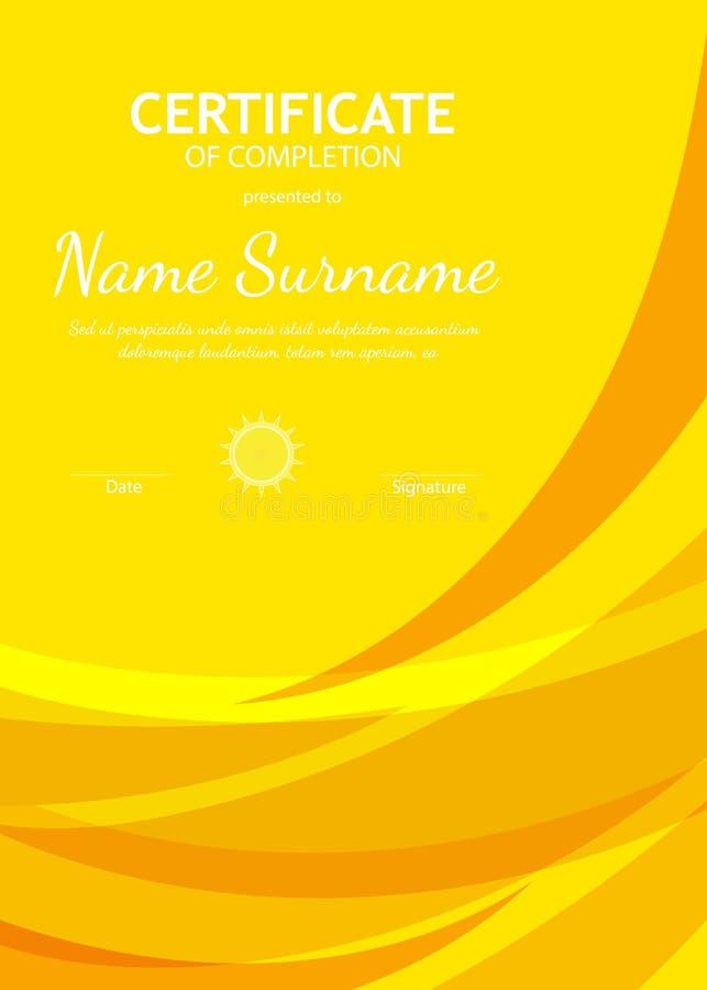 Certificado de plantilla de la realización con el fondo y el sello ondulados ligeros futuristas anaranjados Vector libre illustration