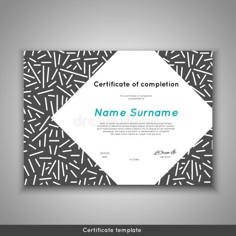 Certificado de realización, de logro, de graduación, de diploma o de premio del aprecio con la línea fondo del extracto stock de ilustración