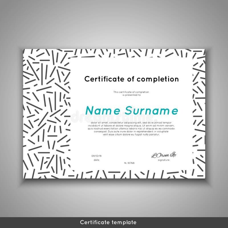 Certificado de realización, de logro, de graduación, de diploma o de premio del aprecio con la línea fondo del extracto libre illustration