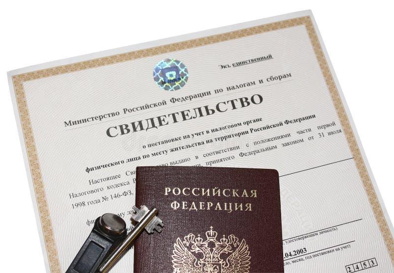 Certificado de registro con la autoridad tributaria imágenes de archivo libres de regalías