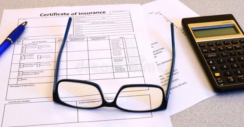 Certificado de seguro imagens de stock royalty free