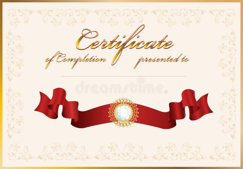 Certificado de terminación. Modelo. stock de ilustración