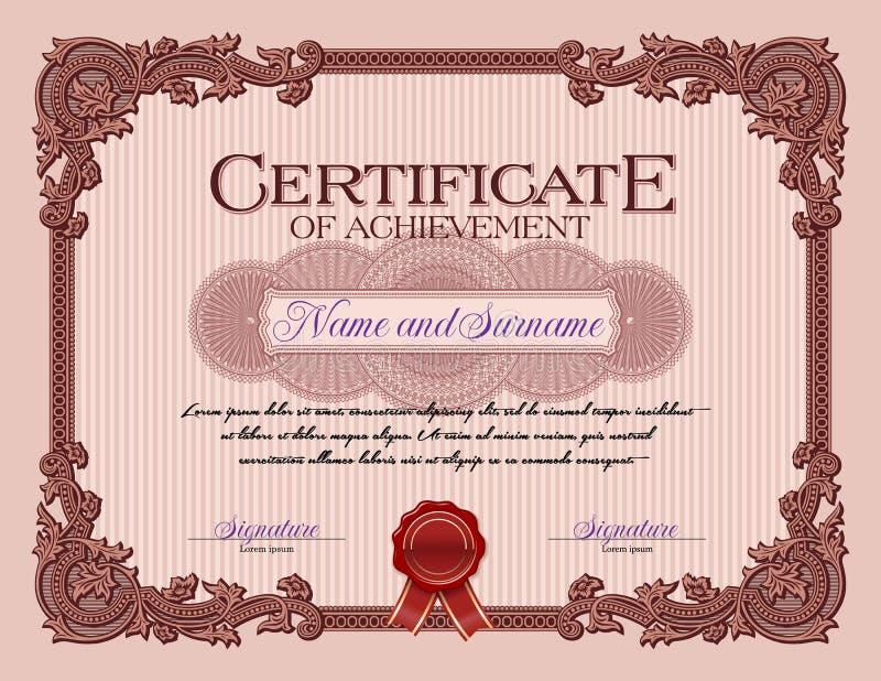 Certificado del marco del vintage del ornamento de rojo del logro stock de ilustración
