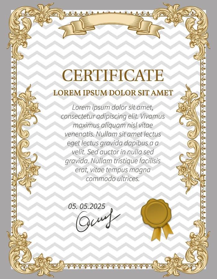 Certificado del oro de logro stock de ilustración