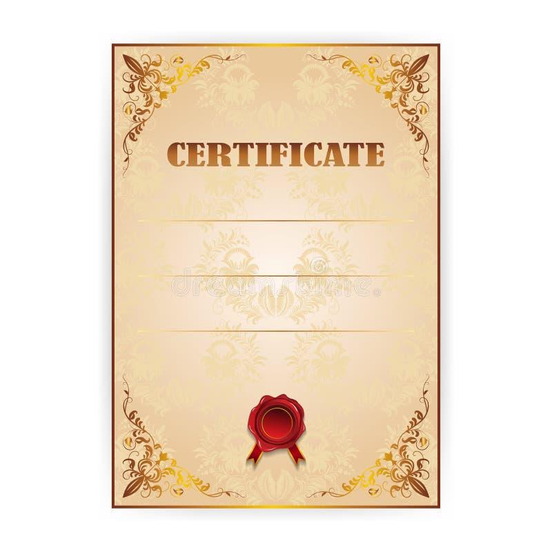 Certificado del oro del vector con una guirnalda del laurel fotografía de archivo