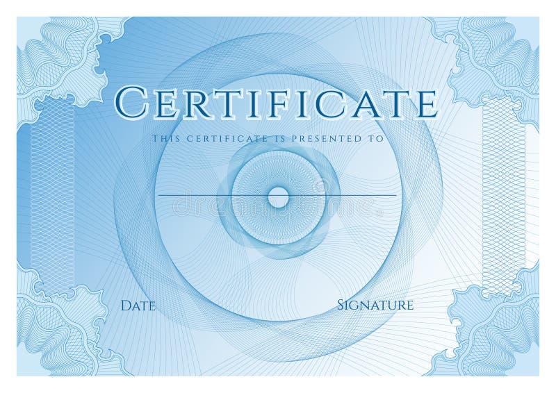 Certificado, diploma de la plantilla del diseño de la realización, fondo con la filigrana azul del modelo del guilloquis, marco stock de ilustración