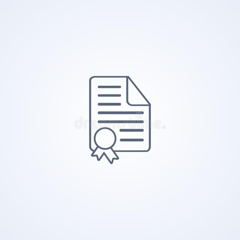 Certificado, diploma, la mejor línea gris icono del vector stock de ilustración