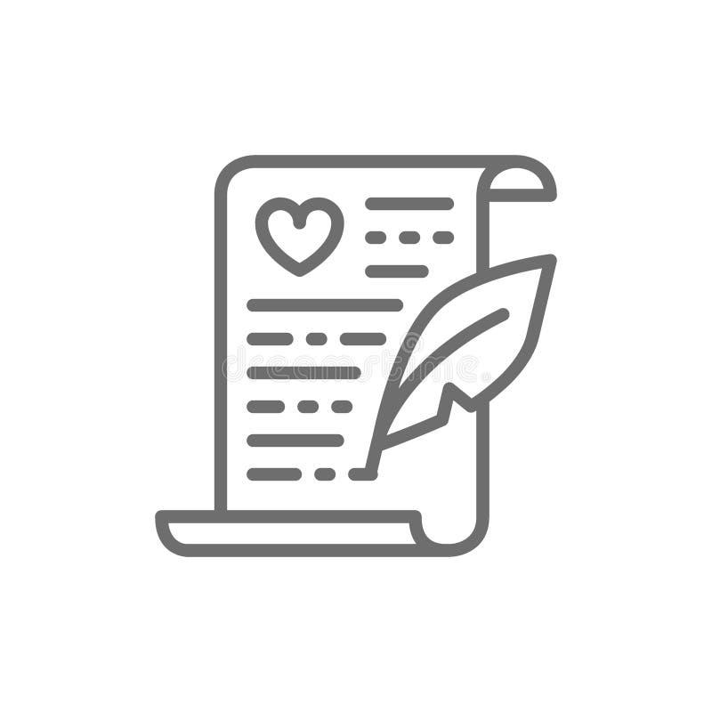 Certificado do casamento, linha ícone do contrato de união ilustração royalty free