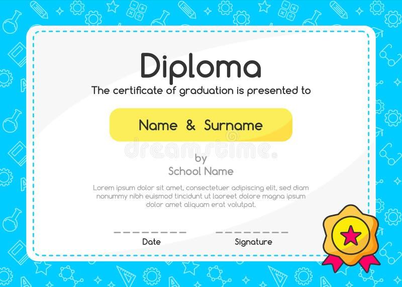 Certificado do diploma das crianças no projeto bonito da disposição do molde do fundo do estilo ilustração do vetor