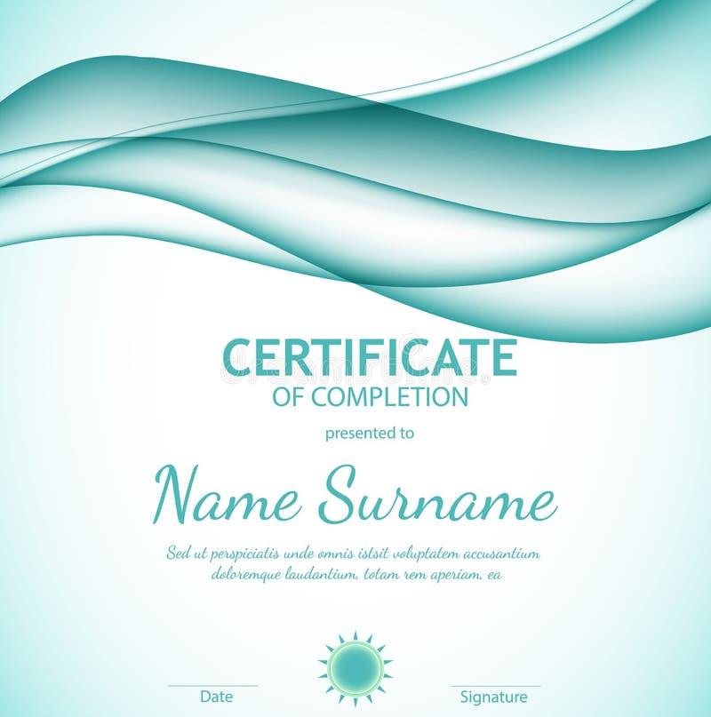 Certificado do molde da conclusão com fundo ondulado macio dos azuis celestes dinâmicos Linhas curvadas no estilo liso elegante ilustração stock
