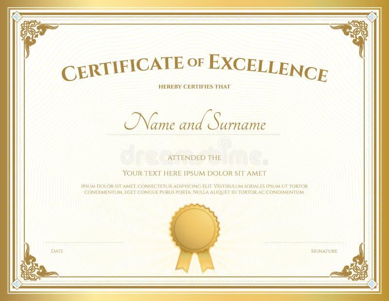 Certificado do molde da excelência com beira do ouro ilustração stock