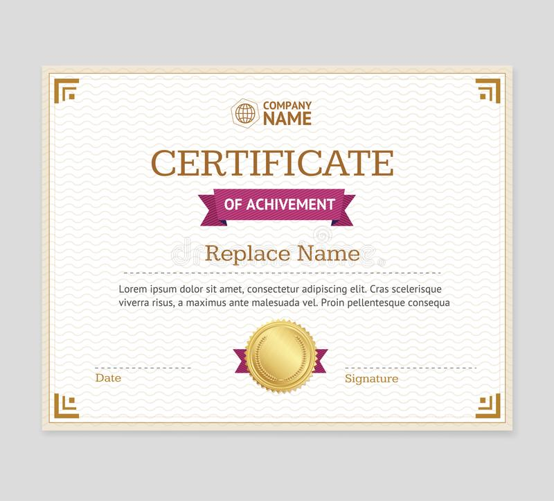 Certificado do molde da realização Vetor ilustração royalty free