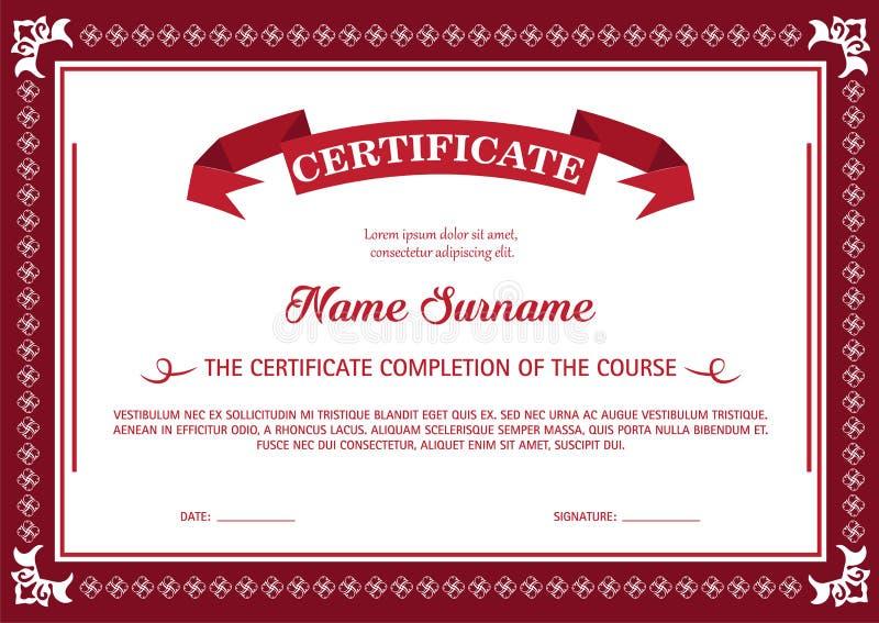 Certificado do molde do vermelho da conclusão ilustração stock
