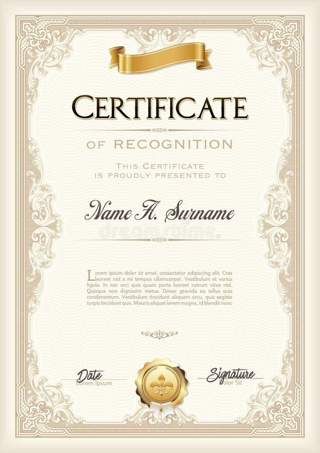 Certificado do quadro do vintage da realização com fita do ouro Retrato ilustração stock